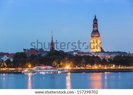 Riga Skyline at Twilight - stock photo