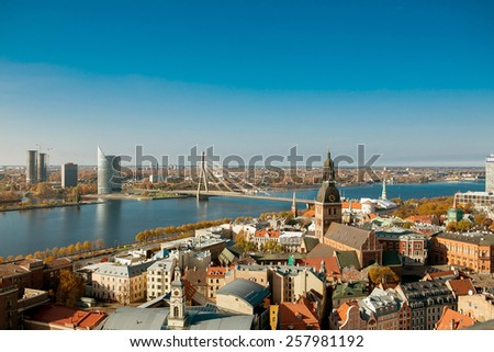 Riga . View of the city from the tower of St. Peter. - stock photo