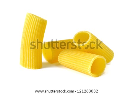 Rigatoni, italian pasta, white background - stock photo