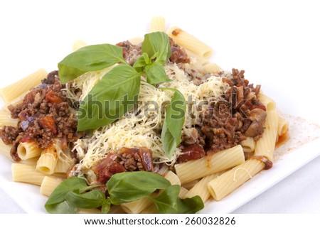 Rigatoni Pasta with Bolognese Sauce - stock photo
