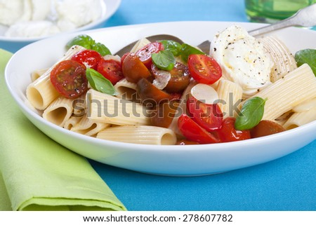 Rigatoni pasta with tomatoes and mozzarella and basil leaves