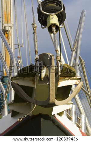 Rigging and Pulley on yacht.