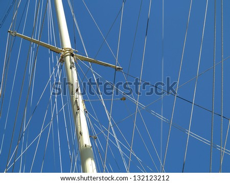 Rigging detail  of beautiful old clipper. - stock photo