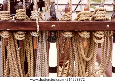 Rigging of an old sailing vessel - stock photo