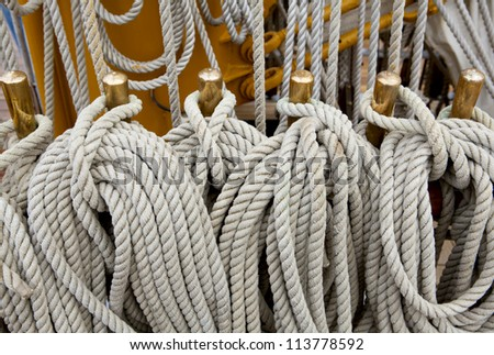 Rigging of sailing vessel - stock photo