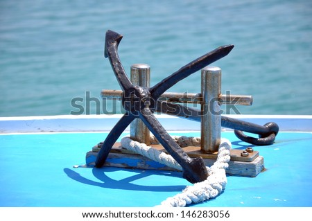 rigging of the jacht - stock photo