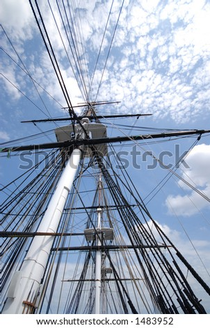 Rigging of USS Constitution with sky - stock photo