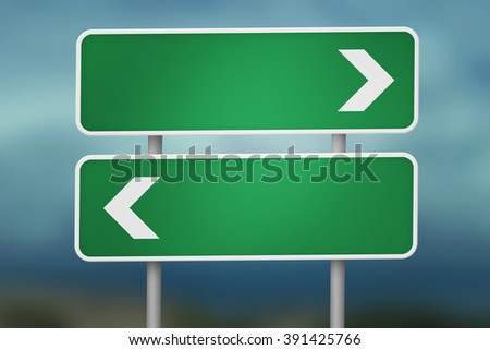 Right and Left Blank Road Sign - stock photo
