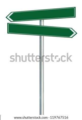 Right and left road route direction pointer this way sign, blank green isolated roadside signage, white traffic arrow empty frame roadsign, grey pole post