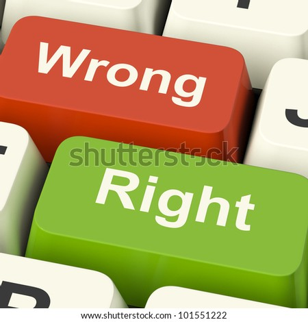 Right And Wrong Computer Keys Shows Results Validation Or Decisions - stock photo