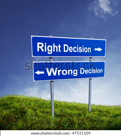 Right and Wrong decision - stock photo