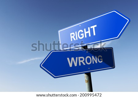 Right and Wrong directions.  Opposite traffic sign. - stock photo