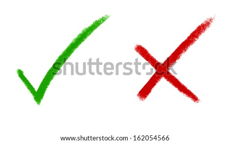 right and wrong - tick mark and cross mark signs - stock photo