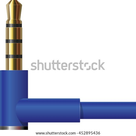 Right angle headphone connector in blue. - stock photo