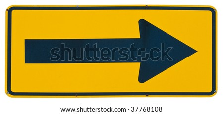 Right Arrow yellow metal road sign isolated on white - stock photo
