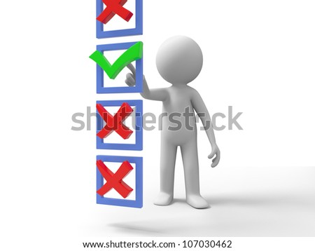 Right Choice/A people are doing the right choice - stock photo