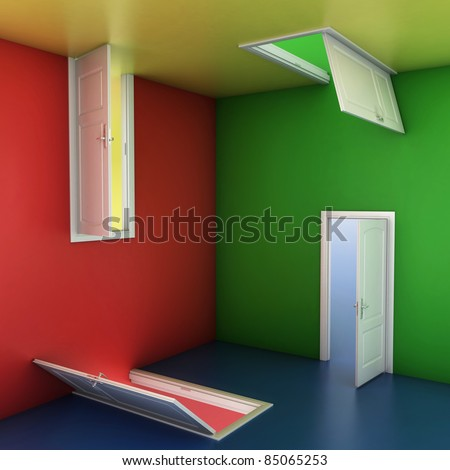 right choice concept, abstract doors 3d illustration - stock photo