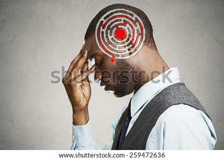 Right decision wisdom strategy concept. Side profile young man solving problem isolated on gray wall background. Face expression  - stock photo