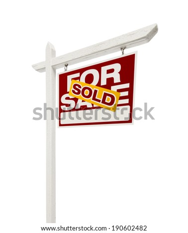 Right Facing Sold For Sale Real Estate Sign with Clipping Path Isolated on White. - stock photo