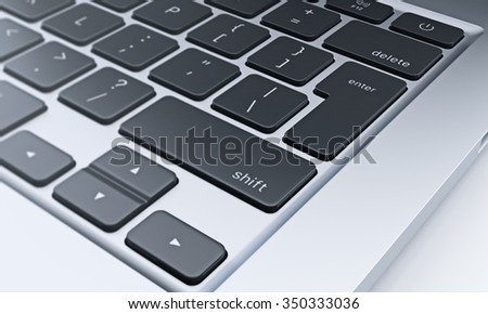 right fragment of a computer keyboard with black keys, concept of work and communication