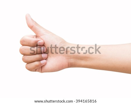 right hand a man show the good/like, commend sign. isolated on white background - stock photo