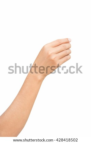 Right hand reaching to pick up something with smartphone, shot form little finger side, isolated on white background. Female right hands holding, picking up isolated on a white background. - stock photo