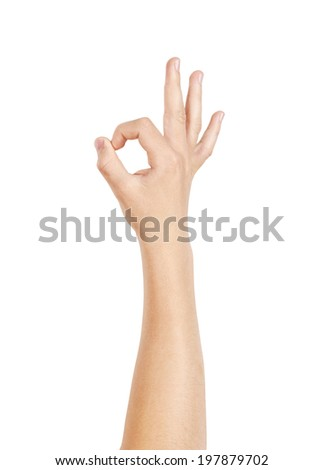 Right hand showing OK sign, isolated on white, clipping path - stock photo