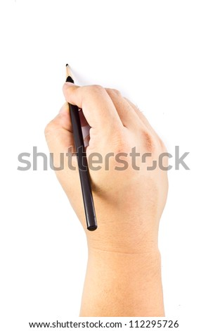 Right hand writing isolated  on the white background. - stock photo