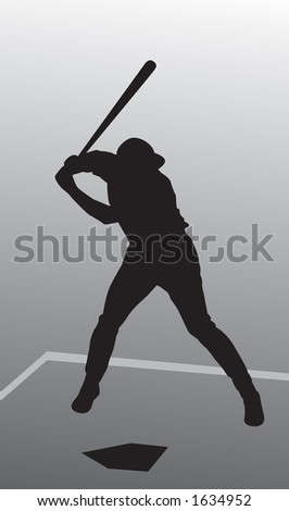 Right handed baseball player silhouette at bat.  CLIPPING PATHS INCLUDED - stock photo