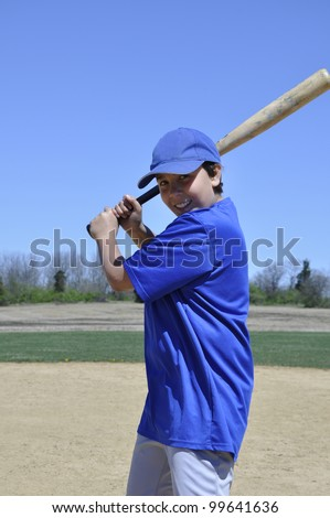 right handed young teen baseball batter - stock photo