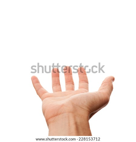 Right male hand with empty place for holding something, isolated on white photo with selective focus - stock photo
