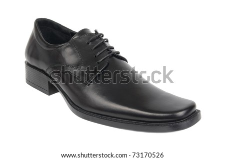 Right man's black shoe isolated on white background - stock photo