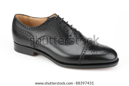 Right men's black shoe isolated on white background - stock photo