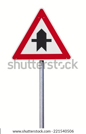 right of way ahead traffic sign - stock photo