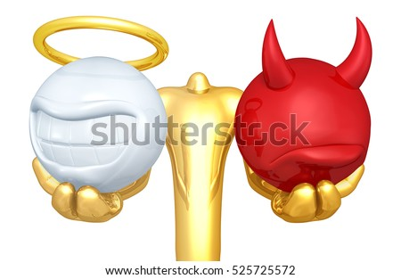 Right Or Wrong Choice Holding Smiling Angel And Frowning Devil Head 3D Illustration