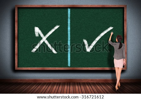 right or wrong on chalkboard