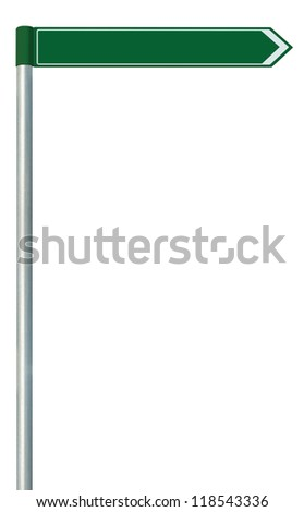 Right road route direction pointer this way sign, blank green isolated roadside signage, white traffic arrow empty frame roadsign, grey pole post - stock photo