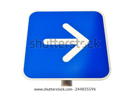 Right traffic route only direction sign turn pointer. - stock photo