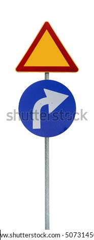 Right white and blue arrow and yellow triangle isolated