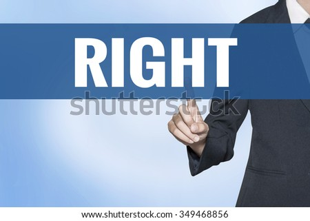 Right word on virtual screen touch by business woman blue background - stock photo