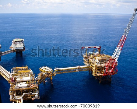Rigs offshore Oil refinery - stock photo