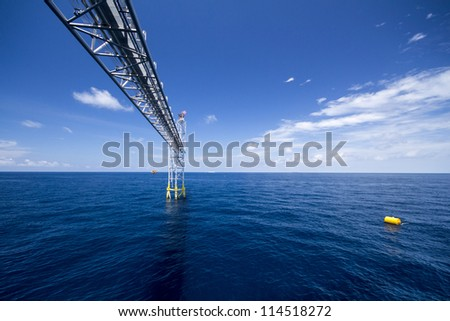 rigs tower with fire in the gulf of thailand - stock photo