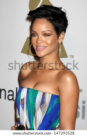 Rihanna  arriving at the Pre-Grammy Party honoring Clive Davis at the Beverly Hilton Hotel in Beverly Hills, CA on  February 7, 2009
