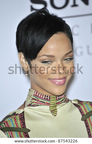 Rihanna at music mogul Clive Davis' annual pre-Grammy party at the Beverly Hilton Hotel. February 9, 2008  Los Angeles, CA Picture: Paul Smith / Featureflash - stock photo