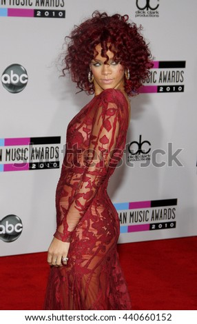 Rihanna at the 2010 American Music Awards held at the Nokia Theatre L.A. Live in Los Angeles, USA on November 21, 2010. - stock photo