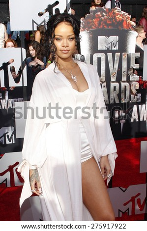 Rihanna at the 2014 MTV Movie Awards held at the Nokia Theatre L.A. Live in Los Angeles on April 13, 2014 in Los Angeles, California. - stock photo