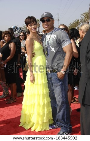 Rihanna, wearing a Giambattista Valli gown,, LL Cool J at BET AWARDS 2008, Shrine Auditorium, Los Angeles, CA, June 24, 2008