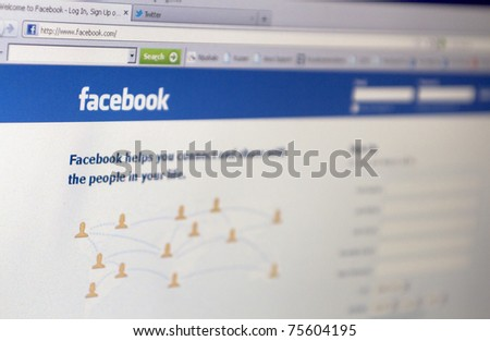 RIJEKA, CROATIA - APR 11: Homepage of Facebook.com, the biggest social network website on April 11, 2011 in Rijeka, Croatia. - stock photo