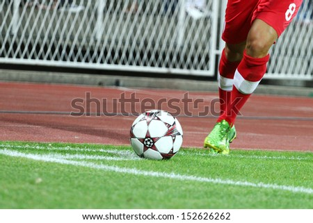 RIJEKA, CROATIA AUGUST 22: UEFA Europa League. Soccer match Rijeka (white) vs. Stuttgart (red) on August 22, 2013 in Rijeka - stock photo