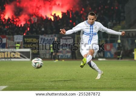 RIJEKA, CROATIA FEBRUARY 18: Marin Leovac at soccer match NK Rijeka (white) between NK Hajduk (blue-red) on February 18, 2015 in Rijeka - stock photo